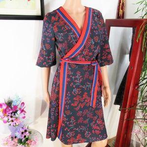 NWT eshakti Blue/Black Red Asian Inspo Wrap Dress